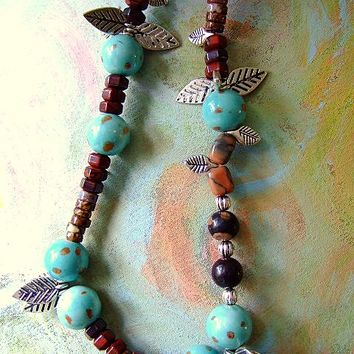 From 50.00--Beaded Necklace for Women with Heishi, Jasper, Etsy jewelry, Handmade, Unique