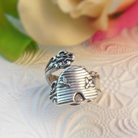 BEE Spoon Ring - Silver Bee hive Preppy Statement Ring Wedding Birthday Bridesmaid Gifts