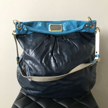 Marc by Marc Jacobs Navy Crinkled Patent Large Crossbody/Shoulder Bag