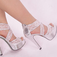 Silver Sparkly Grace Ankle Lace Strappy Wedding Zipped Women High Heel Sandal