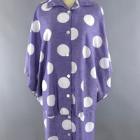 Vintage 1980s Puccini Day Dress / Periwinkle Blue Polka Dots