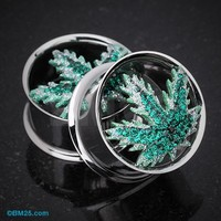 Pot Leaf Tiffany Inspired Ear Gauge Tunnel Plug