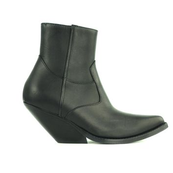Vetements Women's Black  Zip-Up calf Leather Western Ankle Boots