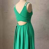DERICA EMERALD - Jumper dress with pockets // crochet // stretch ponte // grass green // cut out // bridesmaid dress // pleated skirt // day