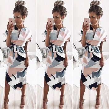 Women Summer Short Sleeve Party Evening Beach Geometric Printing Party Long Dress