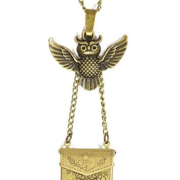 Mail Envelope Locket Delivery Owl Necklace Love Letter NP02 Gold Tone Mail Pendant Fashion Jewelry