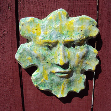 GLOW Concrete Green Man Garden Stone, Indoor/Outdoor