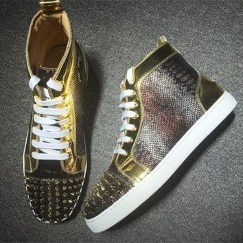 DCCK Cl Christian Louboutin Python Style #2266 Sneakers Fashion Shoes