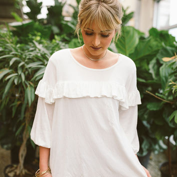 Charlotte Ruffle Top in Ivory