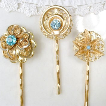 OOAK Vintage Turquoise Aqua Blue Rhinestone Rose Gold Bridal Hair Pins, Gold Plated Keepsake Clips Set 3, Bridesmaids Gift Hair Accessories