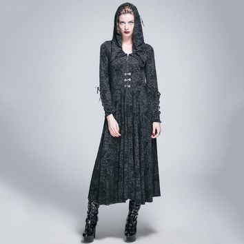 Devil Fashion Gothic Roses Flocking Knitted Dress for Women Steampunk Black Long Sleeves Hooded Dresses