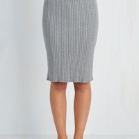 Vintage Inspired, Scholastic Long Pencil Stretch of Timeless Skirt in Ash