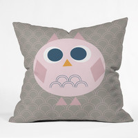 Vy La Geo Owl Solo Pink Outdoor Throw Pillow