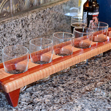 Handmade Wood Mini Brew Beer Sampler 6 - The Massachusetts - Lacewood & Bloodwood - Beer Carrier