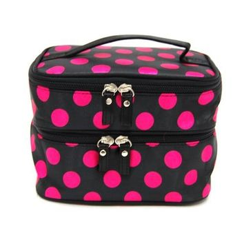 BONAMART ® Double Layer Cosmetic Bag Black with Pink Dot Travel Toiletry Cosmetic Makeup Bag Organizer With Mirror