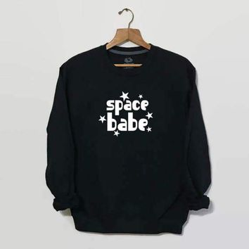 Spring Autumn Crewneck Aesthetic Casual Hipster Space Babe Sweatshirt Space Outer Clothing Tumblr Hooded Unisex 90s Star Outfits