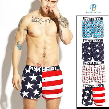Pink Heroes Men Underwear Boxers Printed Cotton Loose Pants Underwear Men Boxer Shorts Sexy Men Underwear Shorts Men Cuecas