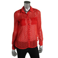 Tommy Girl Womens   Long Sleeves Polka Dot Button-Down Top