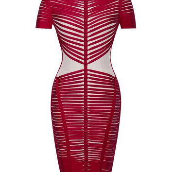 Iren Sheer Mesh and Red Detailed Bandage Dress