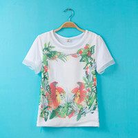 White Floral And Parrot Print Chiffon Shirt