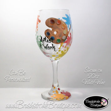 Hand Painted Wine Glass - Artist at Work - Original Designs by Cathy Kraemer