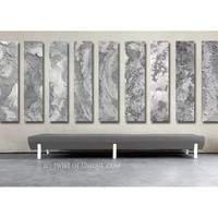 Steel Abstract Paintings / CUSTOM 11 painting set / 48x12  / Oversized Industrial Painting/  Metal Wall Art / Steel, silver