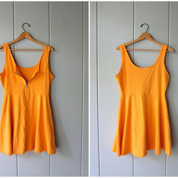 Vintage 80s 90s Cotton Mini Dress Zip Up Jumper Dress Sherbert Orange Summer Tank Dress Sporty Minidress Flirty Basic Sundress Womens Small