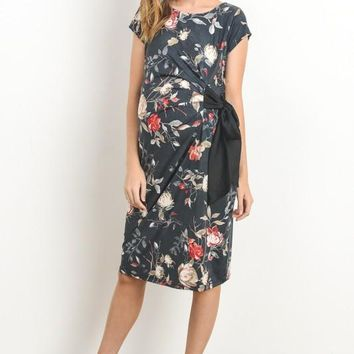 """Beau"" Charcoal Floral Maternity Dress"