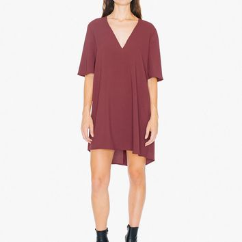 Crepe Slit Back V-Neck Mini Dress | American Apparel