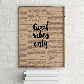 "Dictionary art print Dictionary paper ""Good Vibes Only"" Inspirational Print Good Vibes Printable Art Home Decor Life is Good Typography"