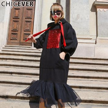 Patchwork Mesh Hooded Autumn Dress Female Tunic Thicker Sequins Lantern Sleeve Black Women Dresses Clothes