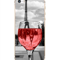 Eiffel Tower Paris Pink Wine Glass Hard Back Cover Case iPhone 5 5s 5c 6 6 Plus
