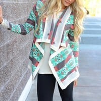 Mint Fields Coral & Grey Aztec Asymmetrical Long-Sleeve Cardigan