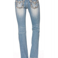 Miss Me Woven Lightwash Bootcut Jeans