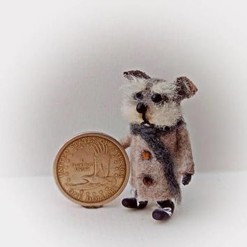 Needle Felted Yorkie , Yorkshire Terrier , Mini Animal , Miniature Doll , Dollhouse Doll , 1:12 Doll , Felted Dog , Artis Doll , Handmade