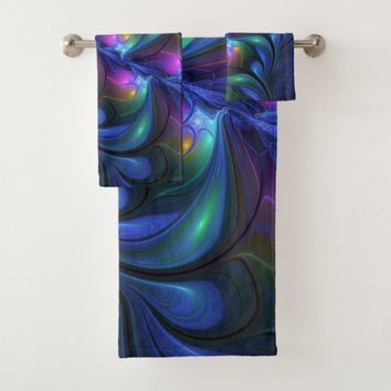 Colorful Luminous Abstract Blue Pink Green Fractal Bath Towel Set