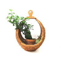 Geometric Wooden Plant Basket Modern Folk Art Craft Hanging Wood Plant Holder 1970s BOHO Decor Large Natural Plant Hanger Basket Vintage