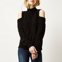 Black cable knit cold shoulder jumper