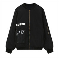 Black Super Patch Pocket Padded Jacket