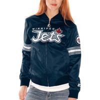 Winnipeg Jets Womens Starter Blitz Satin Jacket – Navy Blue
