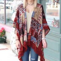 Fall Feelin Frayed + Lace Kimono {Rust Mix}