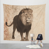 Lion Wall Tapestry by Haroulita