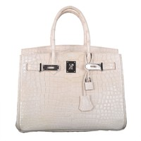 Only On JF Hermes Birkin Bag 30cm Blanc Casse White Croc Porosus