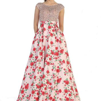 Prom Long Dresses Floral Print Homecoming Formal Ballgown