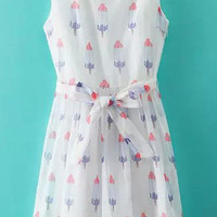 White Popsicle Printed Skater Dress