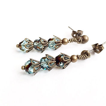 Teal Glass Bead Earrings - Teal Stud Earrings - Glass Drop Earrings - Fancy Vintage Style Earrings