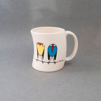 Coffee Cup, Sparrows Decoration, handmade, modern ceramic, cup for tea, coffee, hot chocolate