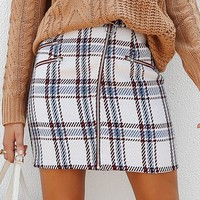 Elegant front zipper tweed plaid mini skirt Women fashion cute skirt lining wrap skirt for ladies