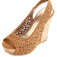 Floral Laser-Cut Peep Toe Wedges by Charlotte Russe - Chestnut