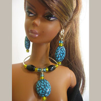 Fashion doll Barbie jewelry set necklace earrings for 11,5 inch dolls